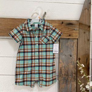 Baby NWT Plaid Romper Carters 12M